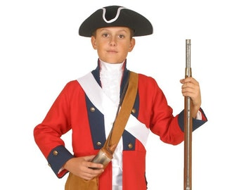 Boys American Revolutionary War Costume - British Red Coat Soldier - Period Military Clothing