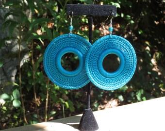 Teal Crochet earrings