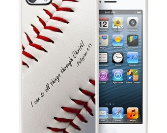 Philippians 4:13 Baseball iPhone 5/5s Rubber Christian Faith Case