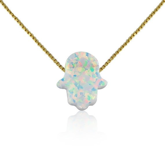 White Opal Hamsa Necklace on Gold Plated 925 Sterling Silver Chain • Safe to Get Wet • Best Low-Price Opal Hamsa Necklace on Etsy