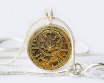 Astrolabe Pendant Necklace Silver Jewelry Necklace For him her Gift sister mom husband wife friend Art Gifts Image under glass!
