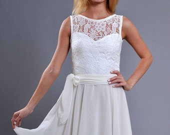 Ivory Dress Chiffon ,Wedding Dress Lace ,Bridesmaid Dress Sleeveless,Short Dress Prom