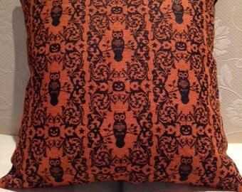 Orange Burlap Owl Pillow Cover