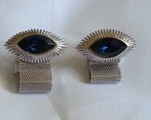 Vintage Dante Sapphire Blue Avant Garde Silver Mesh Wrap Cufflinks c1960 Near Mint Condition