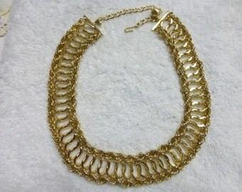 Hobe' 1950's gold tone multi link choker necklace AA23