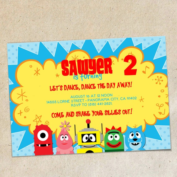 yo gabba gabba invitation template instant download you, Wedding invitations