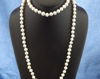 "42"" Hand Knotted White fresh water pearl necklace."
