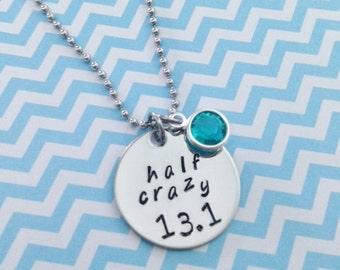 Half Crazy 13.1 Half Marathon Disc Necklace with Swarovski Crystal Birthstones Option