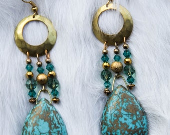 Gold and Turquoise Howlite Dangle Earrings