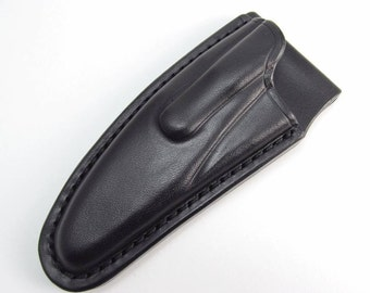 Custom Leather Sheath for Spyderco Police 3, Police 1 Stainless Steel Handle, Handmade