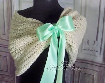 Mint Green Bridal Shawl Bridesmaids Shawl Shrug Wedding Shawl Winter Wedding Shoulder Cover Stole Evening Wrap Crochet Knit Evening Shawl