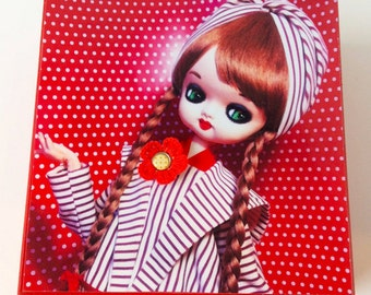 Large Polka Dot Jewelry box featuring a striped ultra MOD Vintage Japanese Pose Doll