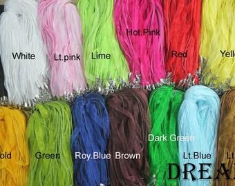 100pcs/lots, 7mm Width, 18 Inch Adjustable Organza Ribbon Cord ,Silk Ribbon Necklace Cords