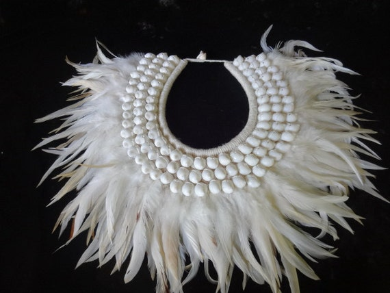 Stunning Snow White Necklace Hand Woven With White Feathers