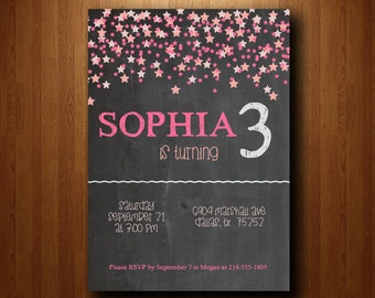 Birthday Party Invitation, girl birthday party invite, pink invitation, falling stars invitation, chalkboard invite, pink stars invite (017)