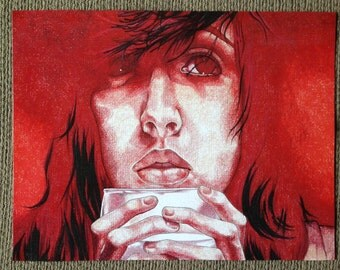 """Colored Pencil Art Print, Girl with Glass, 10"""" x 13"""""""