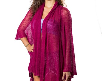 Prema Sheer Jacket Wrap in Berry Pink #104, Lightweight Woven Knit, Mesh, See Through. Cozy yet sexy and feminine, wrap yourself in comfort!