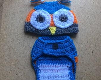 Owl Hat Beanie Diaper Cover Set