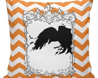 Pillow Cushion Halloween Orange Black Autumn Cotton RQ-107 RavenQuoth All Hallow's Eve Home Decor