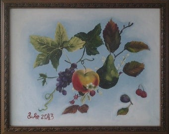 Free Shipping Mexican oil original painting of apple and grape