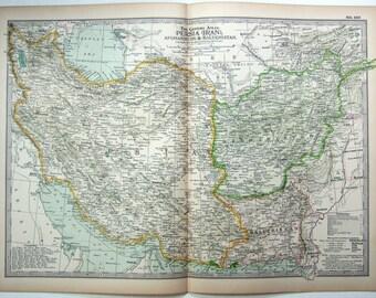Original 1897 Map of Persia, Afghanistan & Baluchistan
