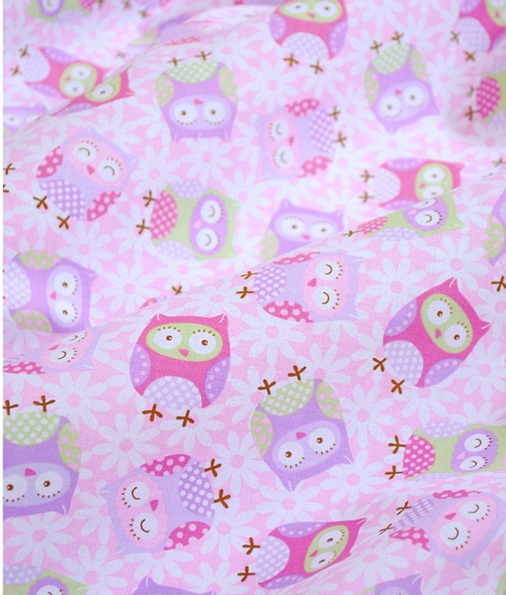 Cute baby cotton fabric light purple owl collection cotton for Purple baby fabric