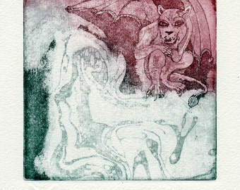 Witching hour - Gargoyle original etching - wall decoration - limited edition prints - miniature-