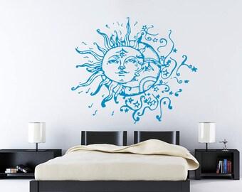 Wall Decal Vinyl Sticker Decals Art Home Decor Design Mural Sun Moon Crescent Dual Ethnic Stars Night Symbol Sunshine Fashion Bedroom AN90