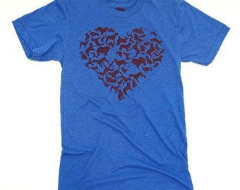 Dog Heart Mens Tshirt, Poly/Cotton Tee