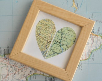 Personalized Long Distance Relationship BFF Boyfriend Gift Map Heart Framed