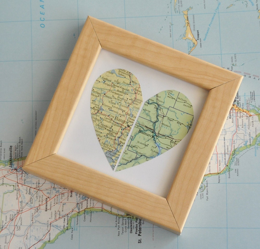 Long Distance Relationship Personalized Gift Custom Map Art