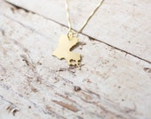 Brass Louisiana Necklace - Gold Louisiana State Necklace LA Necklace Custom State Love Necklace With Heart Louisiana Jewelry Louisiana Art