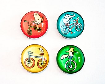 Bicycle Magnets Bike Magnets - Bike Decor Refrigerator Magnets Bicycle Decor Handmade Magnets Cycling Gifts Bike Art gifts for cyclists