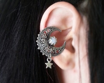 EAR CUFF My Moon And Stars Vintage Glass Opal and Star Charm Antique Silver Non Pierced Cuff Earrring No Post