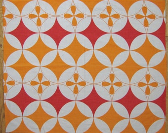 70s retro fabric vintage cotton remnant - abstract geometric
