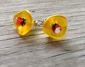beaded flower charms-  flower dangles yellow and orange petal flower set of 2