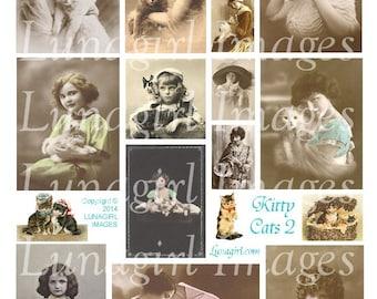 VICTORIAN CATS digital collage sheet vintage images kittens pets little girls ladies photos pendants altered art ephemera DOWNLOAD printable
