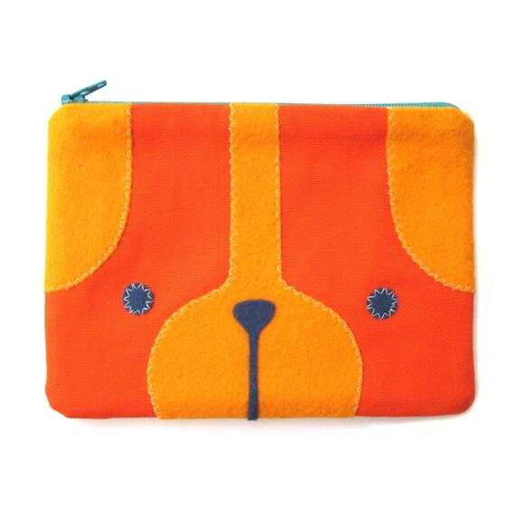 Puppy Dog Zipper Pouch in Orange