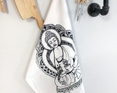 SALE White Cotton Kitchen Tea Dish Towel Hand Screen Printed with Buddha design