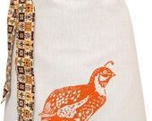Organic block print quail apron