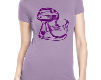 Womens Baking Tshirt Kitchen Mixer Shirts screen print retro ladies fashion vintage bakers food gifts purple tops