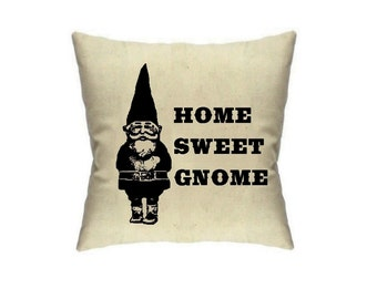 Gnome Pillow Cover Gnomes Pillows Decor Housewares Cushion Cover Linen Throw Pillow Accent Cute Home Sweet Home