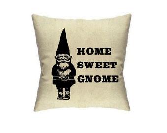 Home Decor Gnome Pillow Gnomes Housewares Fun Cushions Linen Throw Pillows Accent Cute Home Sweet Home