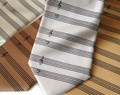 Music manuscript paper necktie. Sheet music tie. Musician men's tie. Perfect gift for classical, symphony, piano, orchestra.