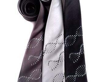 DNA double helix necktie. DNA tie. Scientific print mens tie. Genetics, genome researcher gift, geek gift. Your choice of colors & size!