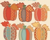 Autumn Clip Art, Pumpkins Graphics, Pumpkin Clipart, Patchwork Linen Pumpkins, Cute Graphics, Digital Download, Downloadable Graphics, PNGs