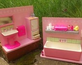 10th or 12th Scale Doll House Bathroom -  pink vintage handmade dollhouse diorama - mended and decorated, with handmade accessories