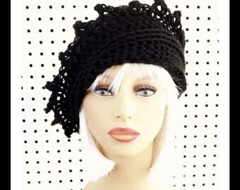 Black Crochet Hat Womens Hat, Crochet Beanie Hat, Black Hat, Crochet Winter Hat, LAUREN Beanie Hat for Women