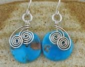 Sleeping Beauty Earrings, Turquoise Wire Wrapped Earrings, Sleeping Beauty Turquoise Jewelry, Blue Stone Silver Earrings, Blue Wired Jewelry