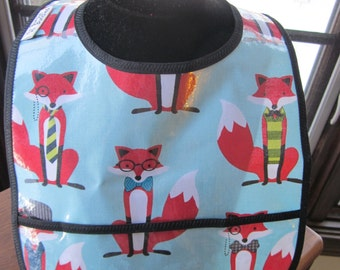 WATERPROOF WIPEABLE Baby to Toddler Plastic Coated Bib Fox and the Houndstooth